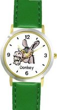 Donkey Head Animal - WATCHBUDDY® DELUXE TWO-TONE THEME WATCH - Arabic Numbers - Green Leather Strap- Size-Small