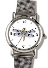 Dragonfly or Dragon Fly Insect - Animal - WATCHBUDDY® ELITE Chrome-Plated Metal Alloy with Metal Mesh Strap-Size-Small ( Standard Size )