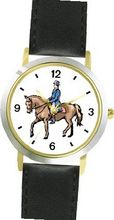 Dressage Horse and Rider Horse - WATCHBUDDY® DELUXE TWO-TONE THEME WATCH - Arabic Numbers - Black Leather Strap-Size-Large ( Size or Jumbo Size )