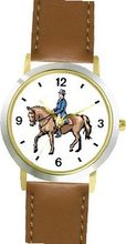 Dressage Horse and Rider Horse - WATCHBUDDY® DELUXE TWO-TONE THEME WATCH - Arabic Numbers - Brown Leather Strap- Size-Small