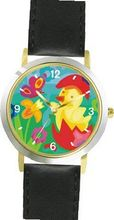 Easter Chick Hatching out of Easter Egg No.3 Easter Theme - WATCHBUDDY® DELUXE TWO-TONE THEME WATCH - Arabic Numbers - Black Leather Strap-Children's Size-Small ( Boy's Size & Girl's Size )