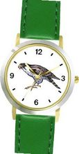 Falcon Bird Animal - WATCHBUDDY® DELUXE TWO-TONE THEME WATCH - Arabic Numbers - Green Leather Strap-Size-Large ( Size or Jumbo Size )