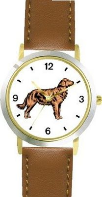 Golden Retriever Dog - WATCHBUDDY® DELUXE TWO-TONE THEME WATCH - Arabic Numbers - Brown Leather Strap- Size-Small