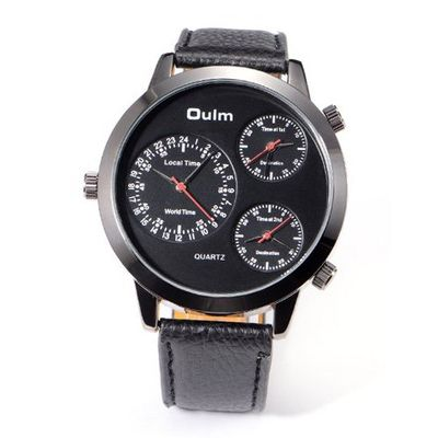 Boys Dulm Army Style Cool Black Leather Sport Quartz for 3 Time Zone US Stock + Gift Box