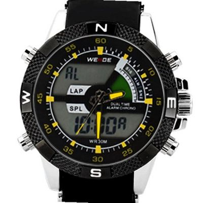 Heads Weide Yellow Hands Dual Mode Display Digital Casual Stainless Steel Sports Wrist