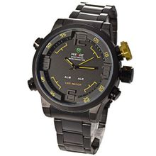 Mudder WEIDE Army Military LED Date Week Alarm Sports Quartz Wrist - Yellow Button