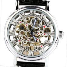 Orkina Silver Case Hollow Mechanical Skeleton Dial Leather Strap Wrist