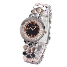 WEIQIN Black Dial Crystal Stainless Steel Lady  Fabulous Quartz Wrist WQI055