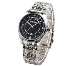 WEIQIN Black Dial Date Day Analog Stainless Steel Band Quartz Wrist WQI064
