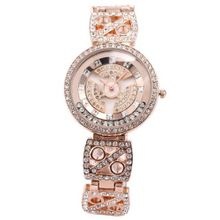 WEIQIN Bling Crystal Rotating Dial Mother of Pearl Lady Rose Gold Bracelet Quartz WQI040