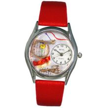 uWhimsical Watches Whimsical es S0440001 Needlepoint Red Leather