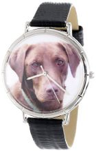 uWhimsical Watches Whimsical es T0130011 Chocolate Labrador Retriever Black Leather And Silvertone Photo