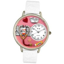 uWhimsical Watches Whimsical es U0620040 Unisex Silver Nurse Red White Skin Leather And Silvertone