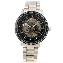 AMPM24 Black Luxury Mechanical Skeleton Stainless Steel Wrist Gift PMW004