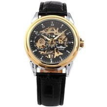 AMPM24 Elegant Leather Band Skeleton Dial Hand-winding Mechanical Sport Gift PMW073