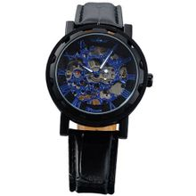 AMPM24 Fashion Mechanical Analog Skeleton Blue Dial Sport Leather Wrist PMW030