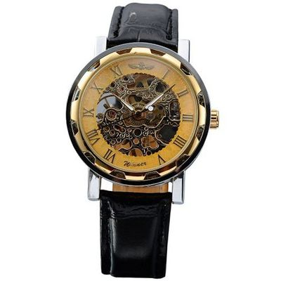 AMPM24 Hot Mechanical Analog Skeleton Golden Dial Sport Leather Wrist Gift PMW029