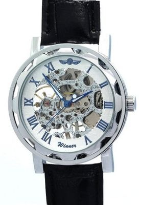 WINNER Fashion Casual Water Resistant Leather Roman numerals Mechanical Skeleton es