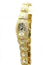 Elegant Jewel Encrusted Ladies Rhinestone Studded Wrist Fashion Gold Tone