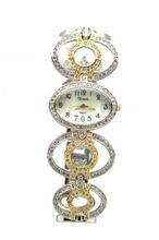 Elegant Two Tone Rhinestone Studded Ladies Silver Tone & Gold Tone Oval Wrist Fashion