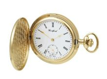 Woodford Gold Plated Mechanical Analogue 1069 with Chain and Separate Second Hand Dial (Suitable for Engraving)