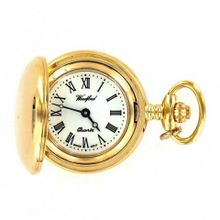 Woodford Ladies Gold Plated Full Hunter Quartz Analogue 1234 with Chain and Roman Dial (Suitable for Engraving)