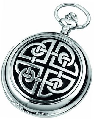 Woodford Quartz Pocket , 1909/Q, Chrome-Finished Celtic Knotwork Pattern with Chain (Suitable for Engraving)