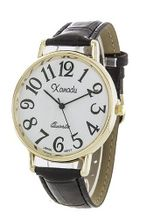 Ladies Gold Tone Case Black Leather with Easy to Read Dial