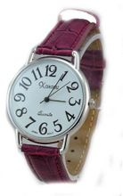 Ladies Silver Tone Case Purple Leather with Easy to Read Dial