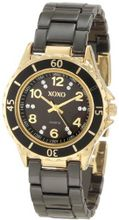 XOXO XO2001 Black Ceramic and Gold-Tone with Swarovski Crystal Accents