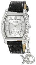 "XOXO XO3089 Black Lizard Strap with ""XO"" Charm"