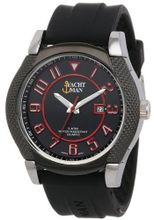 Yachtman YM122-BLACK/RED Textured Round Case Date Display Black Silicone Strap