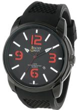 Yachtman YM130-BLK/RED Oversized Round Case Date Display Black Silicone Strap