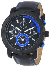 Yachtman YM607-BBL Round Black Bezel with Blue Dial Detail in Black Genuine Leather Band