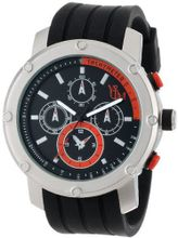 Yachtman YM607-OR Round Silver Bezel with Orange Dial Detail in Black Silicone Band