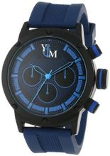 Yachtman YM750-BL Round Black Blue Patterned Dial Coordinating Silicone Band