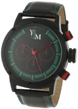 Yachtman YM750-GR Round Black Green Patterned Dial Genuine Leather Band