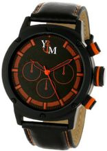 Yachtman YM750-OR Round Black Orange Patterned Dial Genuine Leather Band