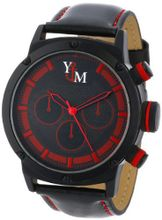 Yachtman YM750-RD Round Black Red Patterned Dial Genuine Leather Band