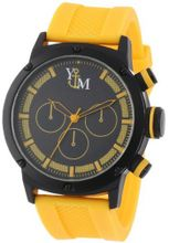 Yachtman YM750-YL Round Black Yellow Patterned Dial Coordinating Silicone Band