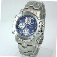 YEMA by Seiko of France RALLYGRAF Silver-tone Chronograph with Blue Dial. Model:YM0311