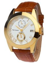 Yves Camani Automatic MAXIME White Brown YC1039-A YC1039-A with Leather Strap