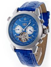Yves Camani Automatic Worldtimer Stahl Blau YC1029-D with Leather Strap