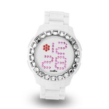 Zerone Bedazzled White Silver Digital (Clear Swarovski Crystal)