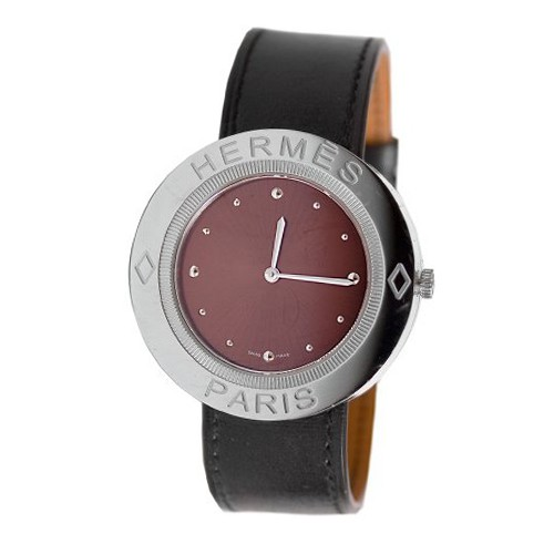 Herm s hermes 38mm diamonds stainless steel case brown calfskin anti reflective for Anti reflective watches