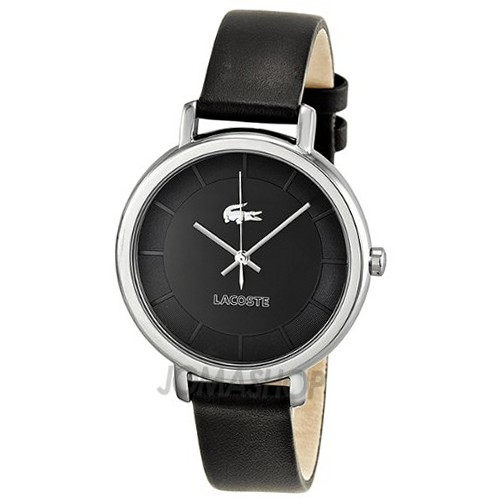 lacoste black leather 2000717 all watches